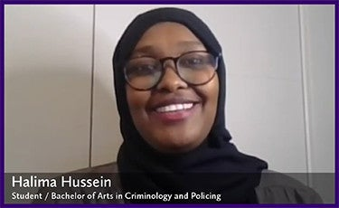 Halima Hussein, Honours BA in Criminology and Policing Student