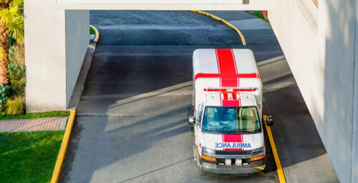 ambulance parked outside emergency department