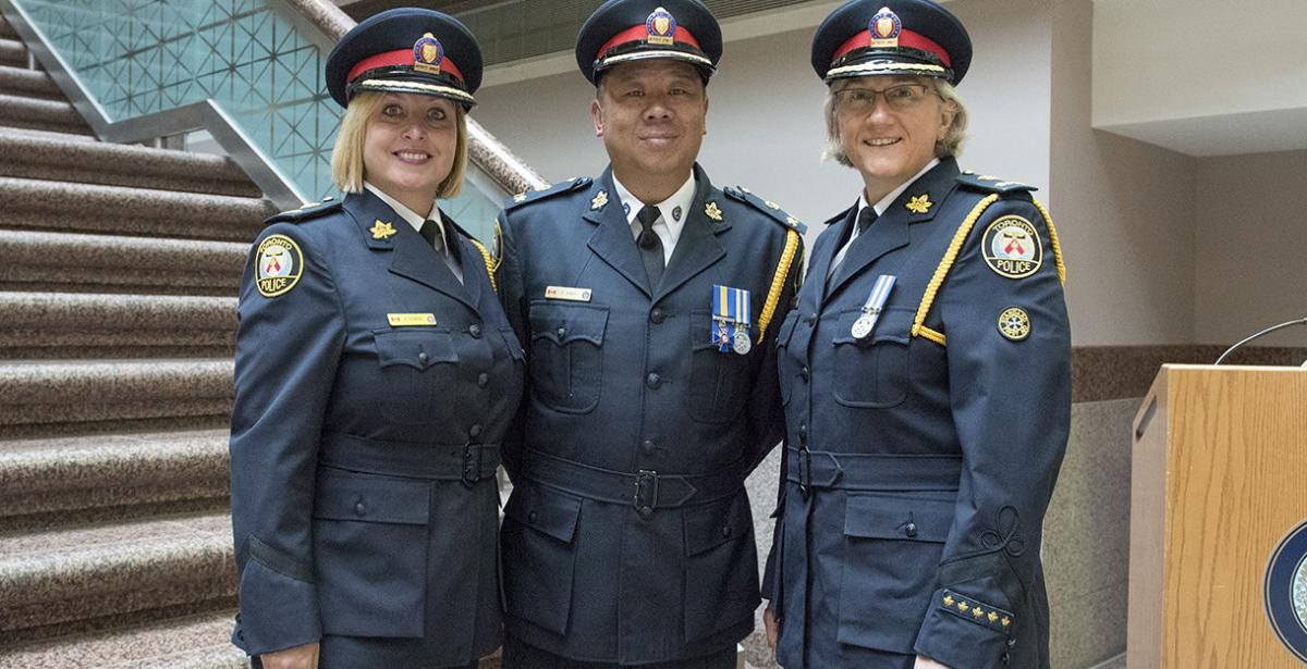 New 2017 Toronto Deputy Chiefs Shawna Coxon, Peter Yuen and Barbara McLean - Credit Toronto Police Services