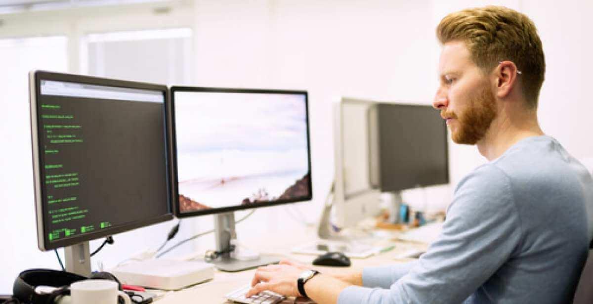 MCS man on computer